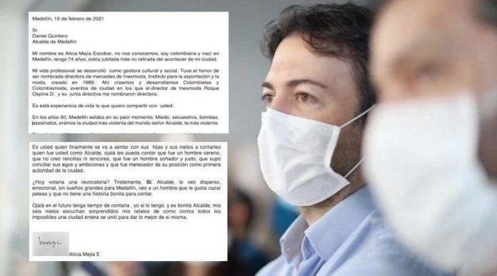 Sentida carta de ciudadana al alcalde Daniel Quintero que antes lo apoyaba pero ahora pide la revocatoria